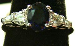 Picture of 14K WHITE GOLD SAPPHIRE RING