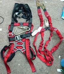 Picture of MSA 10041615 Body Harness W/ MSA 10023970 Lanyard, 2 Leg, Nylon , Red