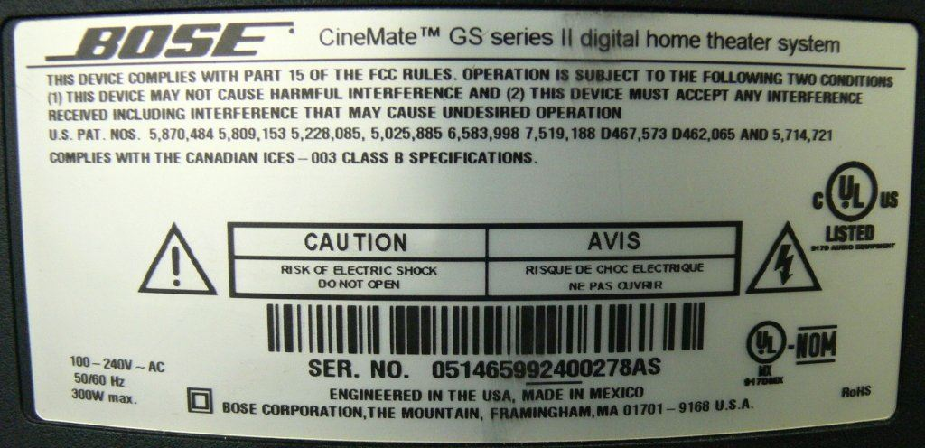 bose gs series ii. picture of bose cinemate gs series ii digital home theater system bose gs series ii d