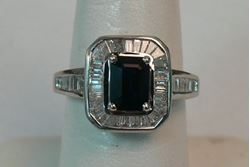 Picture of 14K WHITE GOLD RING WITH BLUE STONE AND DIAMONDS SZ-7 4.1G