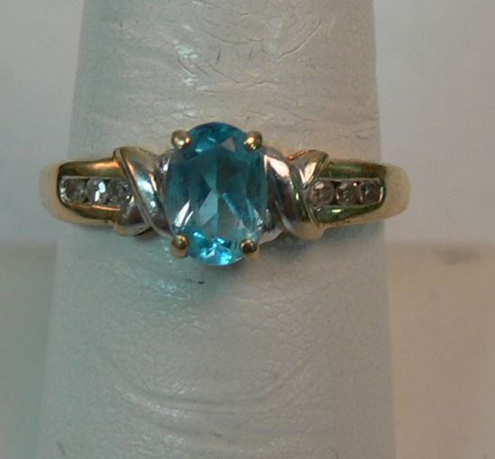 Picture of 10K YELLOW GOLD RING WITH BLUE STONE AND DIAMONDS SZ-7.75 2.2G