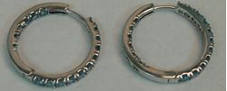 Picture of 14K WHITE GOLD HOOP EARRINGS WITH BLUE STONES 5.8G