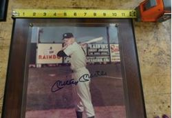 Picture of Mickey Mantle plaque with autograph picture and C.O.A