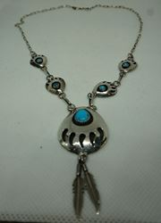 Picture of STERLING SILVER NECKLACE WITH TURQUOISE STONES 13.1 GR