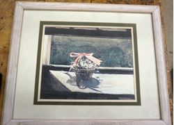 "Picture of Andrew Wyeth (May Basket) Plate Signed Framed Lithograph (21"" x 17"")"