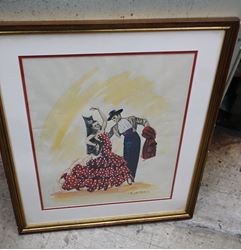 Picture of ART PRINT 15.5 X 19.5  SPANISH FLAMENCO DANCERS BY BELTRAN ARTIST FRAMED 21 X 25.  GOOD CONDITION,  BUT FRAME NEED SOME TOUCH UP.