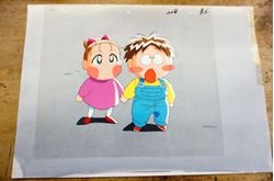 "Picture of JAPANESE ANIME ""2 Babies"" COLORFUL CELS 10.5X9 A1; B2  W BACKGROUND 14X10 . COLLECTIBLE. GOOD CONDITION. NOTE - 2 CELS STICK TOGETHER."