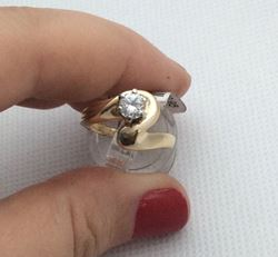 Picture of 14kt yellow gold ring with 0.40pts round diamond size 6