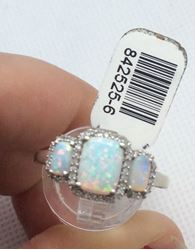 Picture of 14kt white gold fashion ring with 0.25 carat of 40 round diamonds and 3 beautiful opals. Size 9.5 . 3.3 gr . 842525-6.