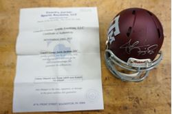 Picture of JOHNNY MANZIEL AUTO TEXAS A&M MINI RIDDELL FB HELMET WITH COA. VERY GOOD CONDITION.