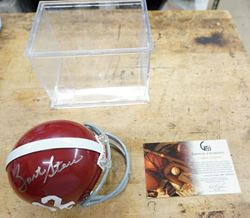Picture of BART STAR SIGNED MINI HELMET WITH COA RIDDELL MINT CONDITION. COLLECTIBLE. WITH PLASTIC CASE AND COA . COA # GV307634.