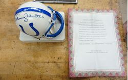 Picture of JOHNNY UNITAS SIGNED BALTIMORE COLTS MINI HELMET WITH COA COLLECTIBLE.MINT CONDITION.
