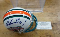 Picture of DAN MARINO 13 SIGNED MINI HELMET WITH COA # 015231 MINT COLLECTIBLE.