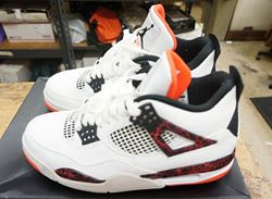 Picture of AIR JORDAN 4 RETRO WHITE BLACK BRIGHT 308497-116 US MENS SZ 8 NEW WITH BOX.