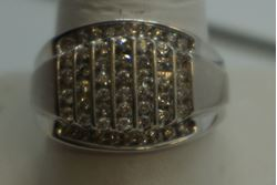 Picture of 10kt white gold ring size 10.25 with 56 small round diamonds (1 carat ) 6.2 GR MINT CONDITION. 840012-1.