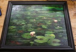 "Picture of Framed oil painting "" Lilly Pad scene "" 20 x 16 FREE SHIPPING"