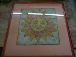 "Picture of FRAMED BATIK ON CLOTH ""SUN "" BY ARTIST ELENA 20 X 20 FREE SHIPPING"