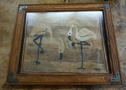 Picture of FLAMINGOS ON BAMBOO FRAMED BY ARTIST D.YONGA 16 X 13 FREE SHIPPING