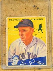 Picture of 1934 Series # 53 George Watkins Lou Gehrig Says baseball card vintage rare. good condition.