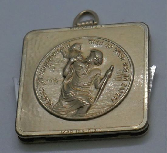 "Picture of VINTAGE HICKOC U.S.A BEHOLD ST CHRISTOPHER PENDANT ""THEN GO YOUR WAY IN SAFETY"" WITH KNIFES 1/30 10KT R.G.P.  PRE OWNED. COLLECTIBLE. UNIQUE."