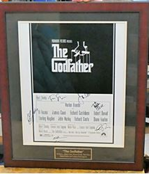 Picture of THE GODFATHER SIGNED POSTER 16X20 AL PACINO JAMES CAAN ROBERT DUVALL &MORE W COA. VERY GOOD CONDITION. FRAMED. SIGNED BY AL PACINO, JAMES CAAN, ROBERT DUVALL, TALIA SHIRE, DIANE KEATON, FRANCIS FORD COPOLLA . WITH COA.
