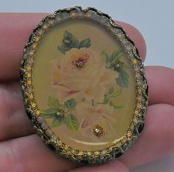 Picture of VINTAGE PIN BROOCH WITH ROSE AND COLORED STONES. VERY GOOD CONDITION.