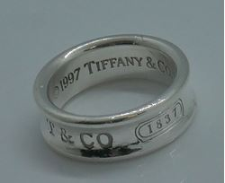 Picture of TIFFANY AND CO 1837 STERLING SILVER 925 RING SIZE 6.5 ; 1997 ; 7.1 GRAMS .  PRE OWNED. VERY GOOD CONDITION. 824024-1.