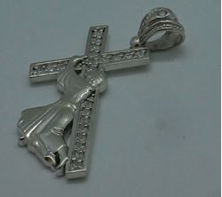 """Picture of 10kt white gold cross with Jesus """" Jesus carrying the cross"""" 7.5 grams with czs 764801-1"""